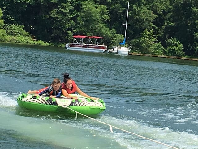 Stilettos and Diapers, Lake Norman tubing
