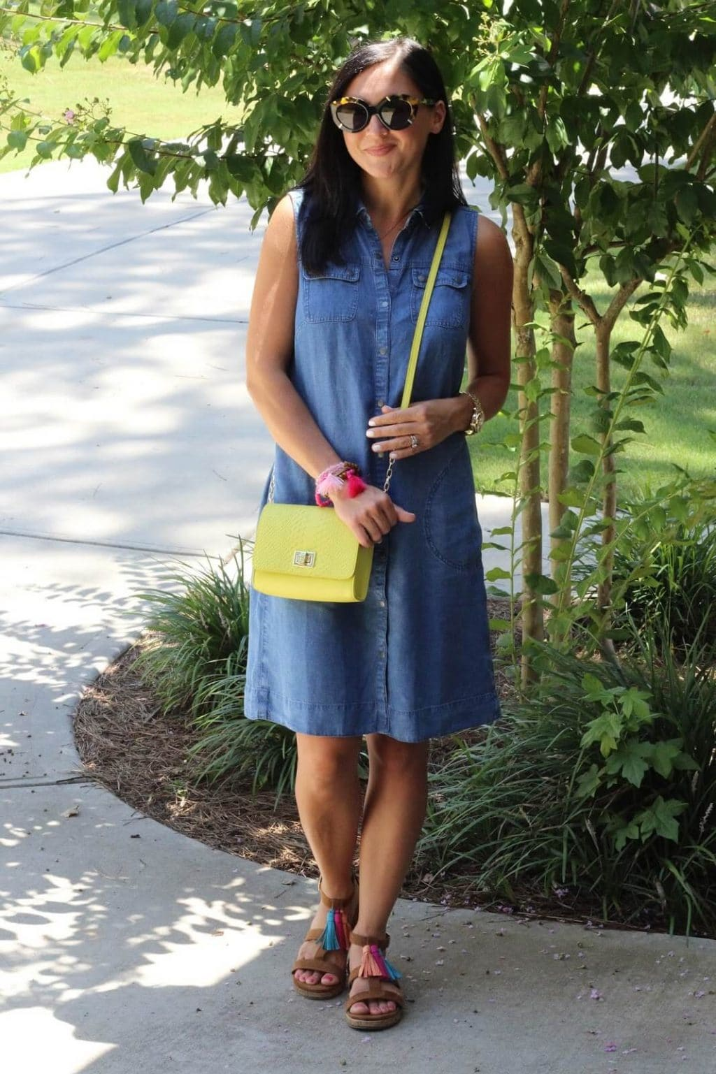 J Jill Style, denim dress, neon, tassels, karen walker flowerpatch
