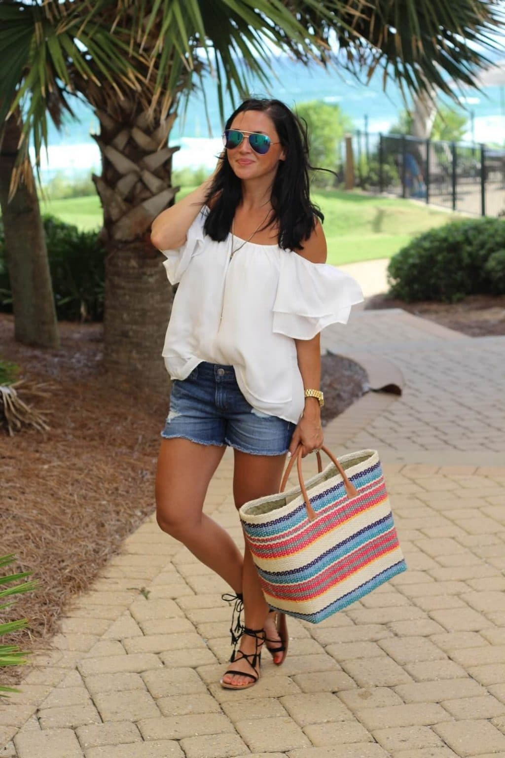 Best distressed denim shorts, white cold shoulder, stripe tote