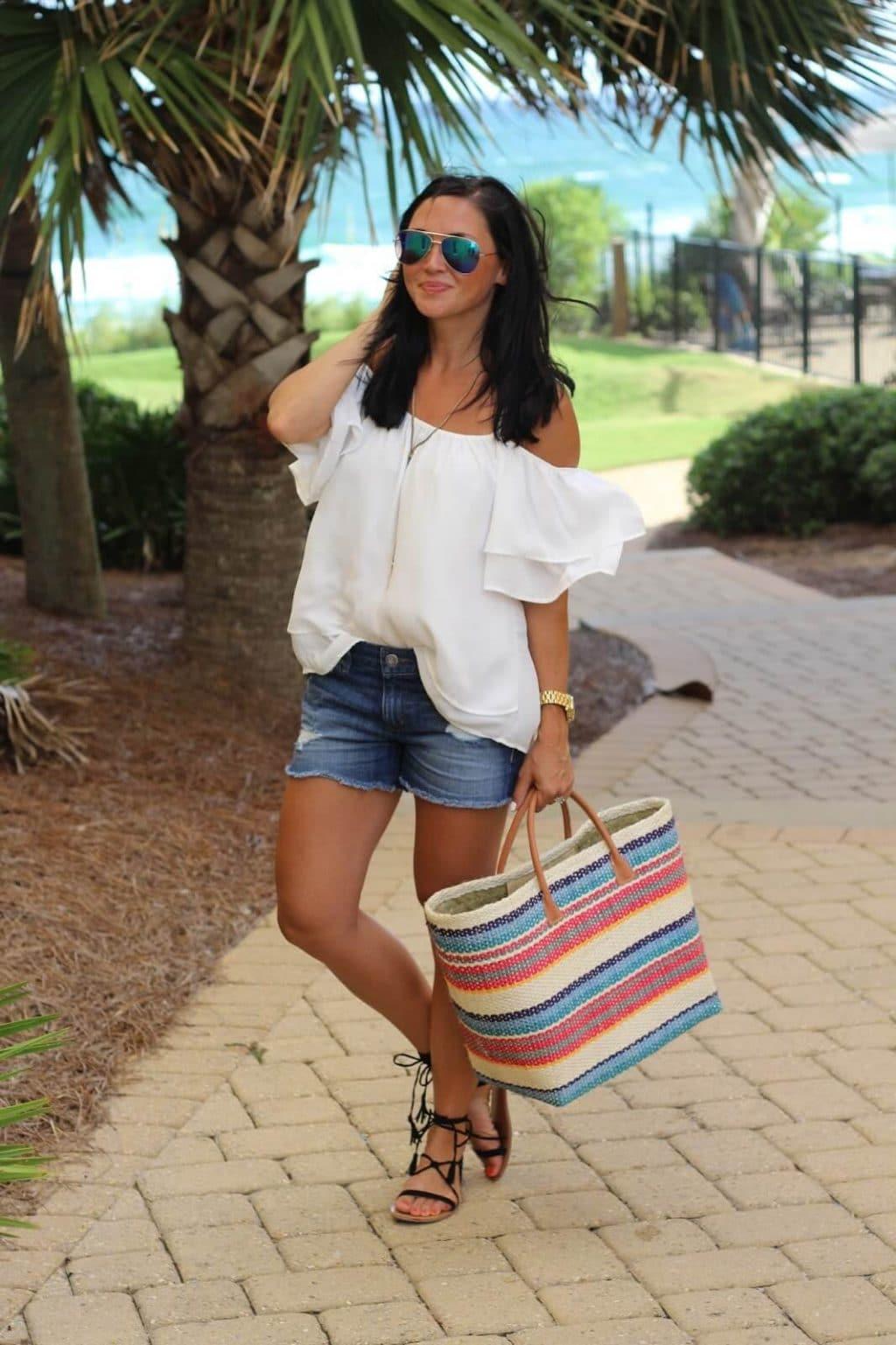 Best distressed denim shorts, white cold shoulder, stripe tote