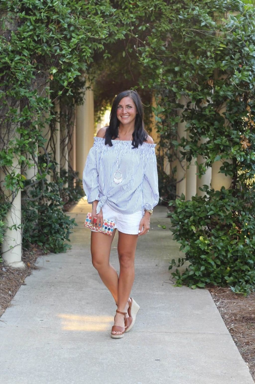 beach style, Striped off the shoulder top, white eyelet shorts