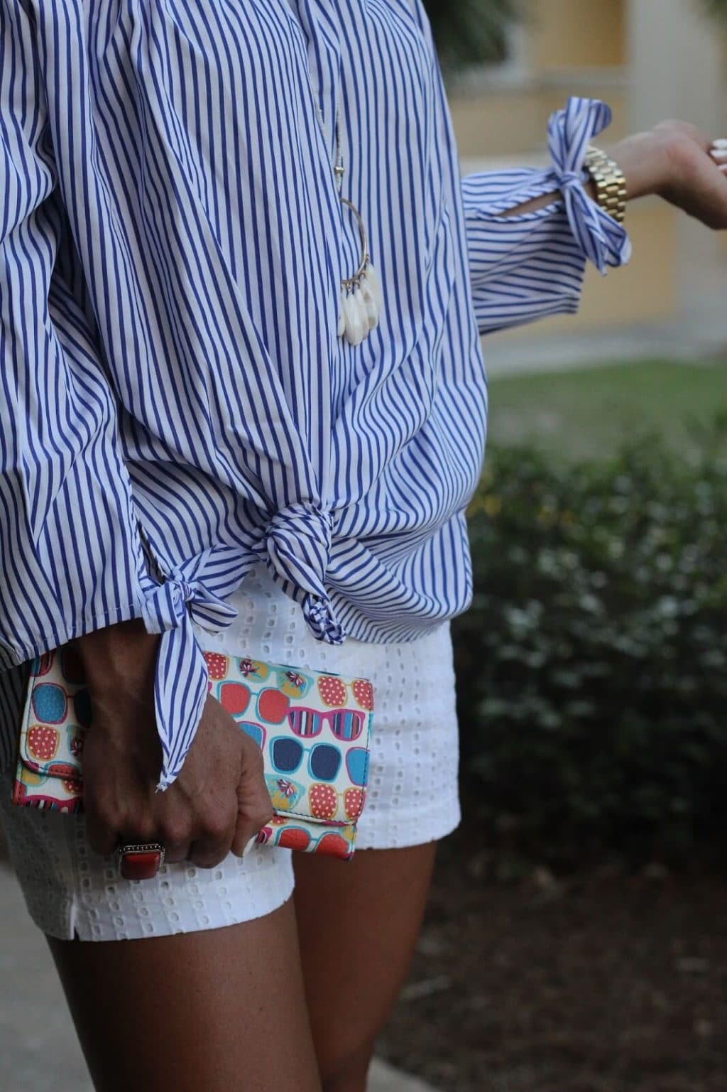 sunglasses clutch, white eyelet shorts