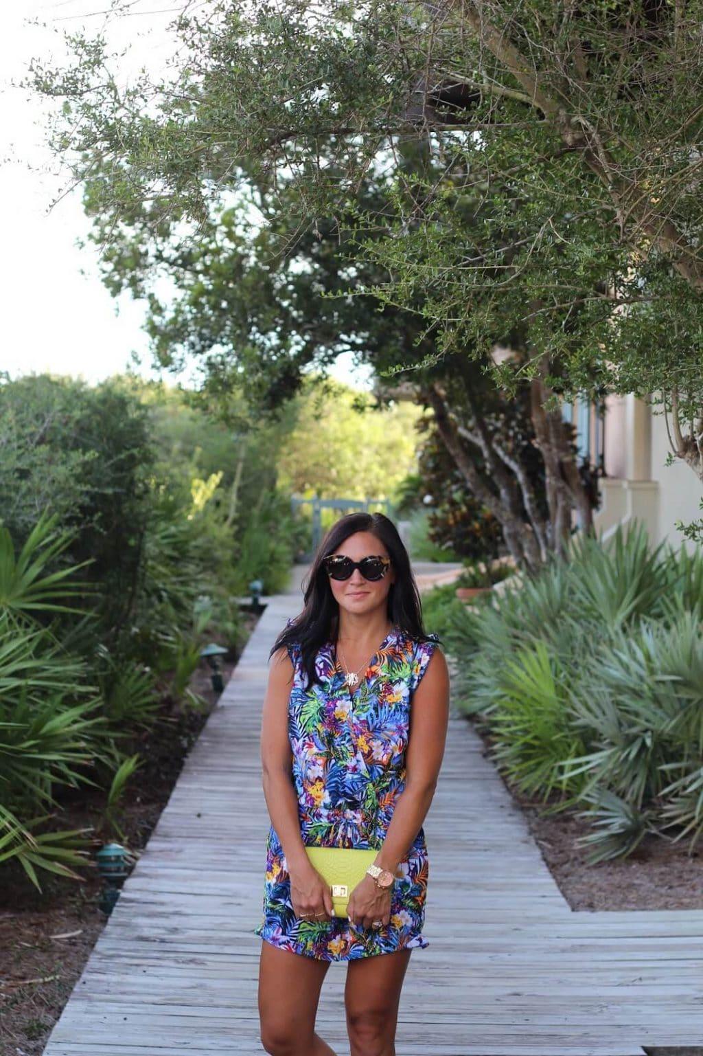 Blue Floral Romper, Rosemary Beach