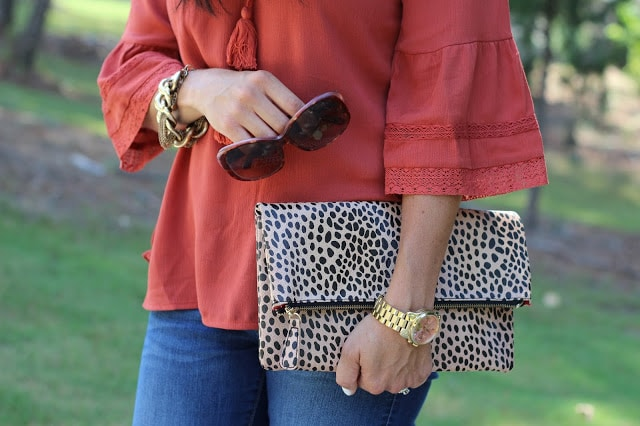 Claire V foldover clutch, pantone Potters clay