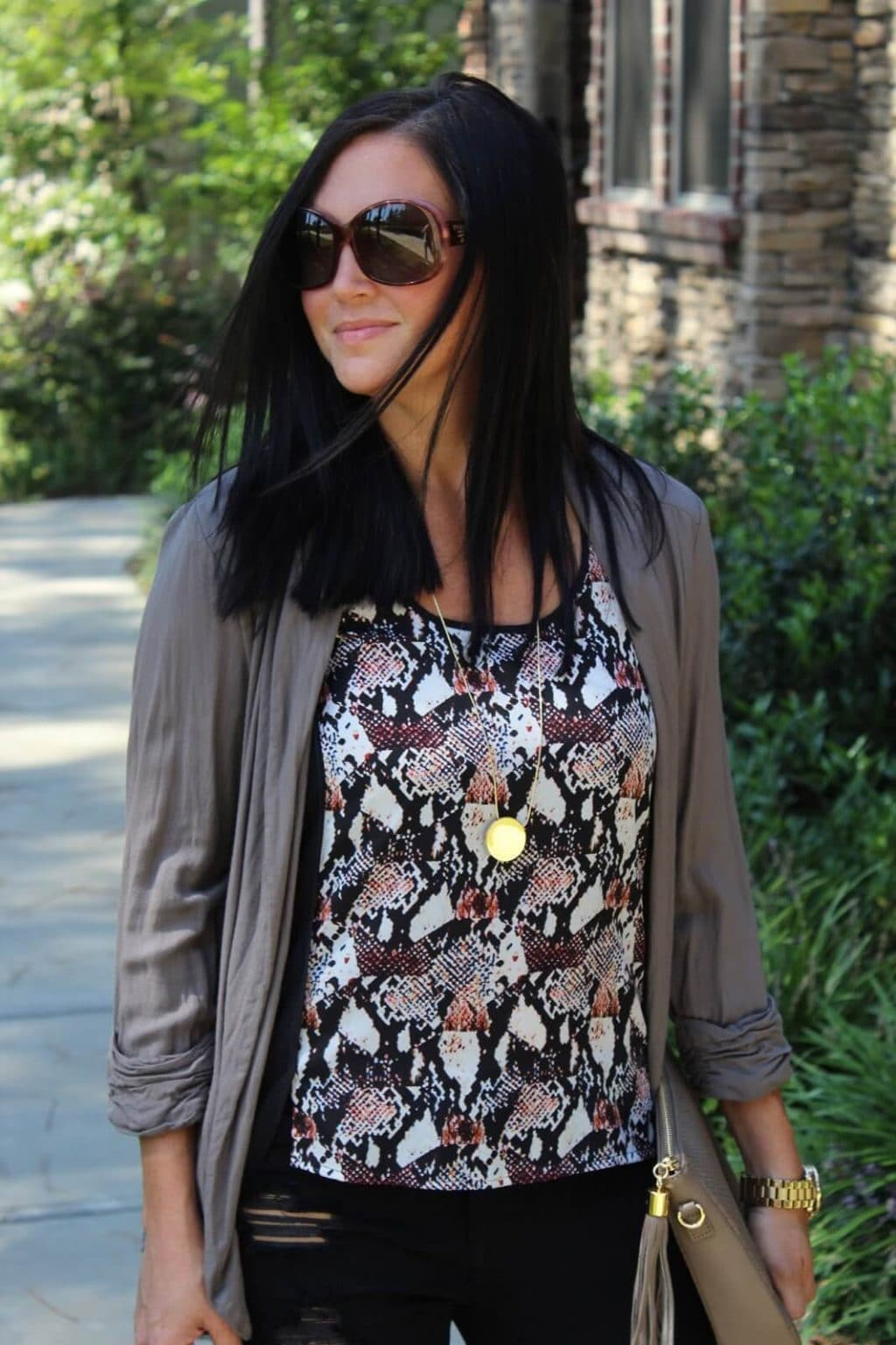 snakeskin top, fall layering, prada sunglasses