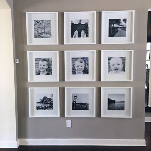 Gallery Wall, square frames, prints, cheap square prints, ikea