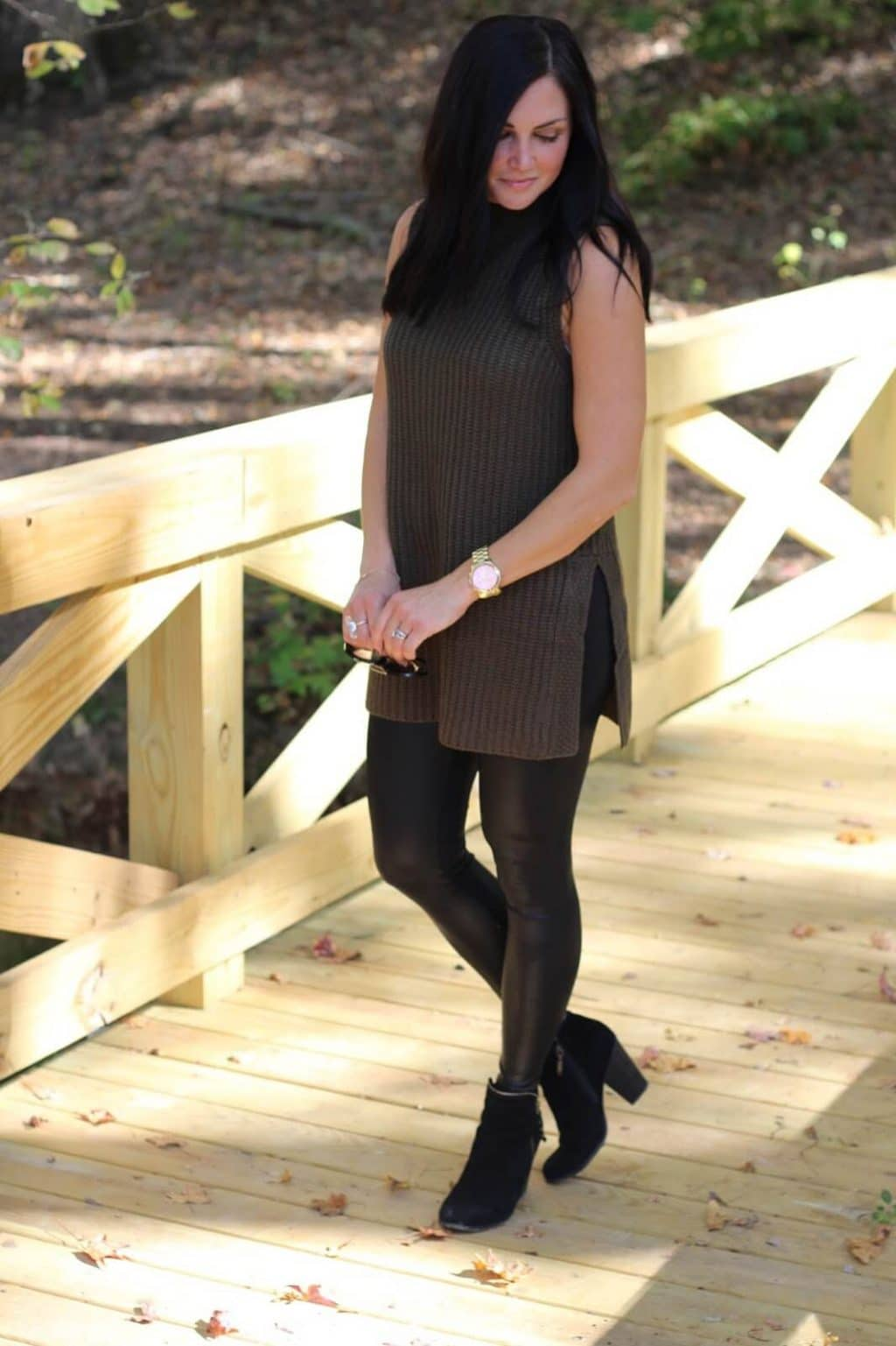 Versatile black booties, leather leggings