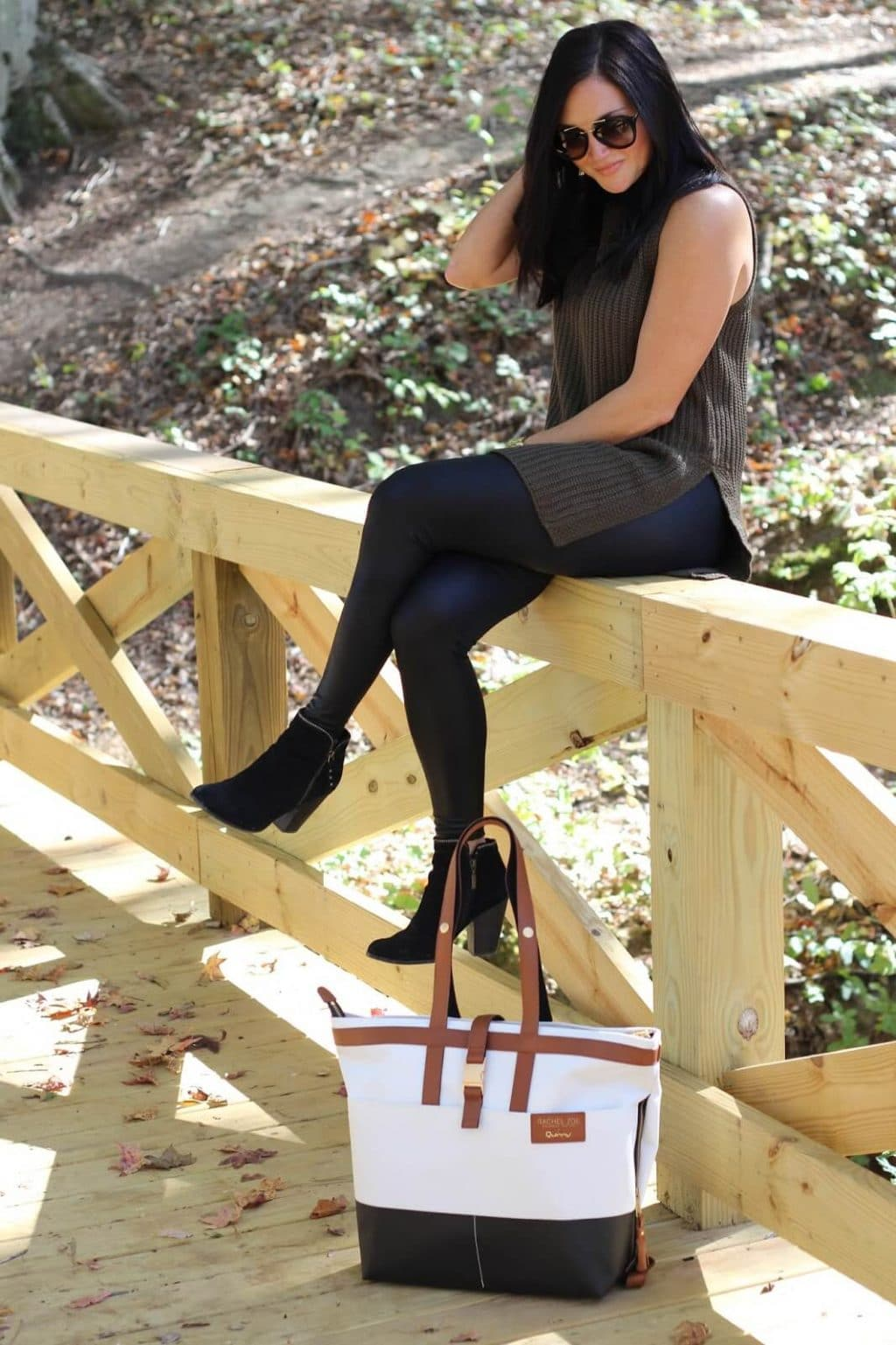 Leather leggings, sleeveless sweater
