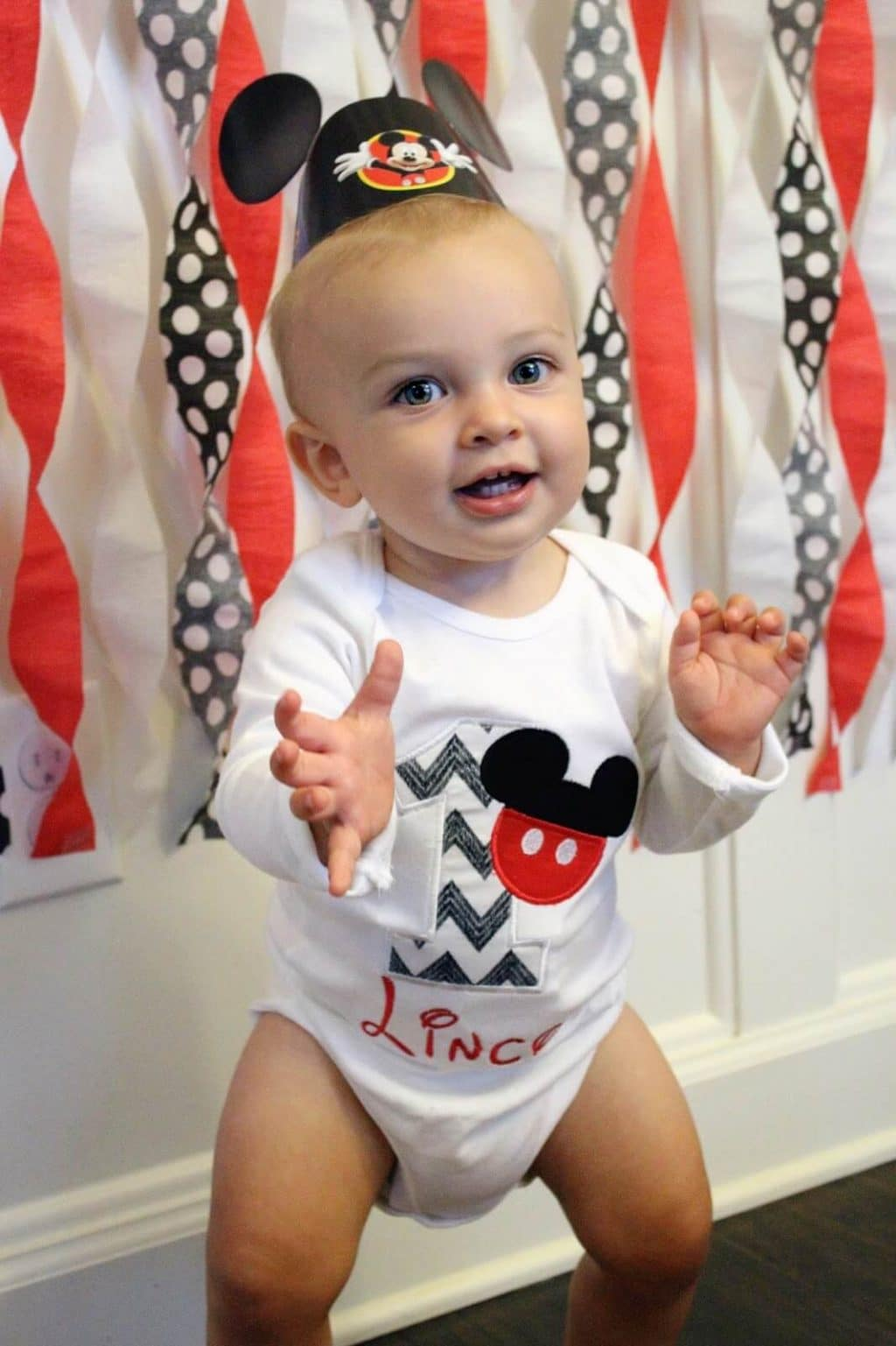 Custom Mickey Mouse Birthday onesie, Wittle Stitches