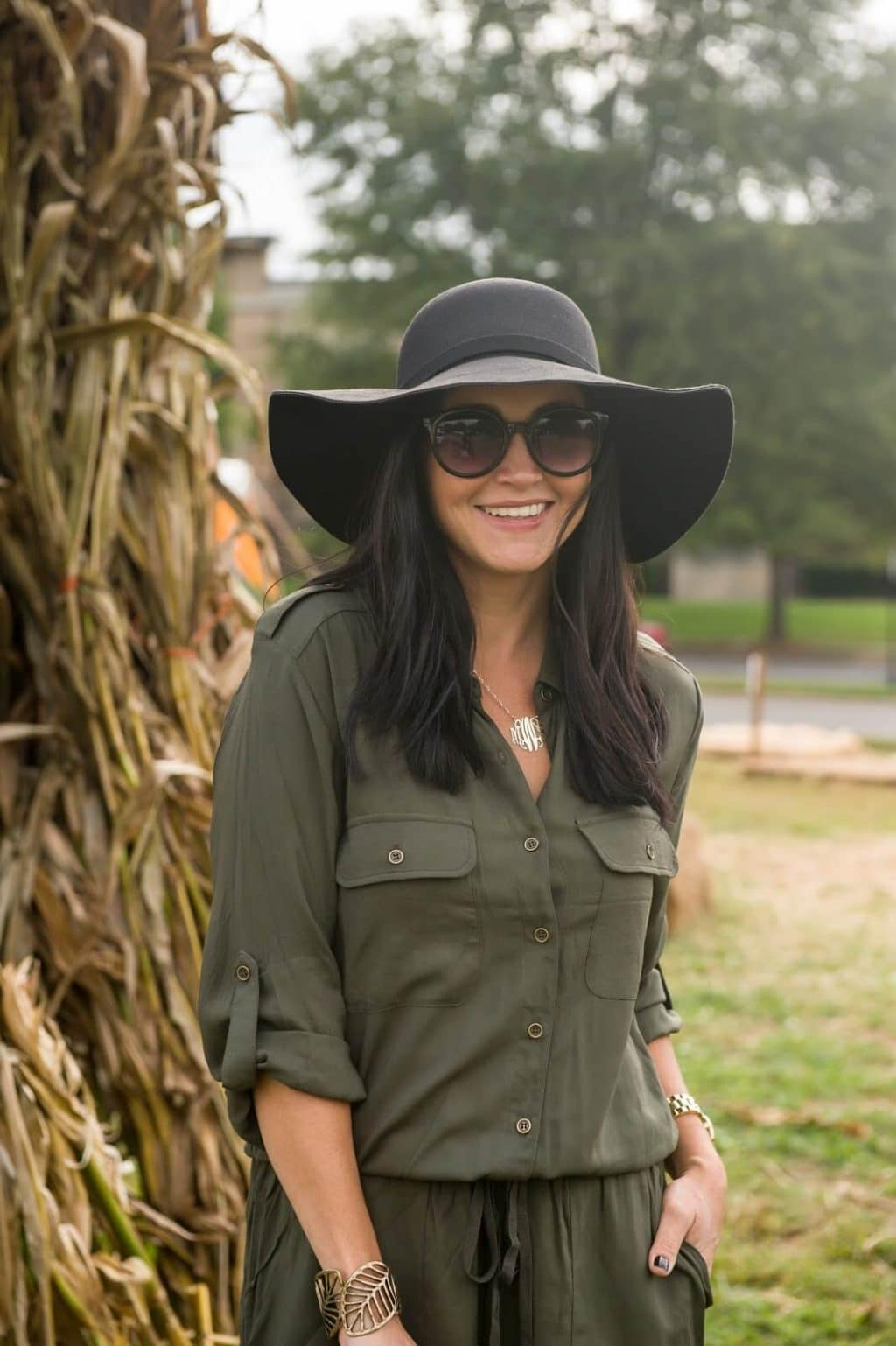Fall Romper, Floppy Hat, Booties