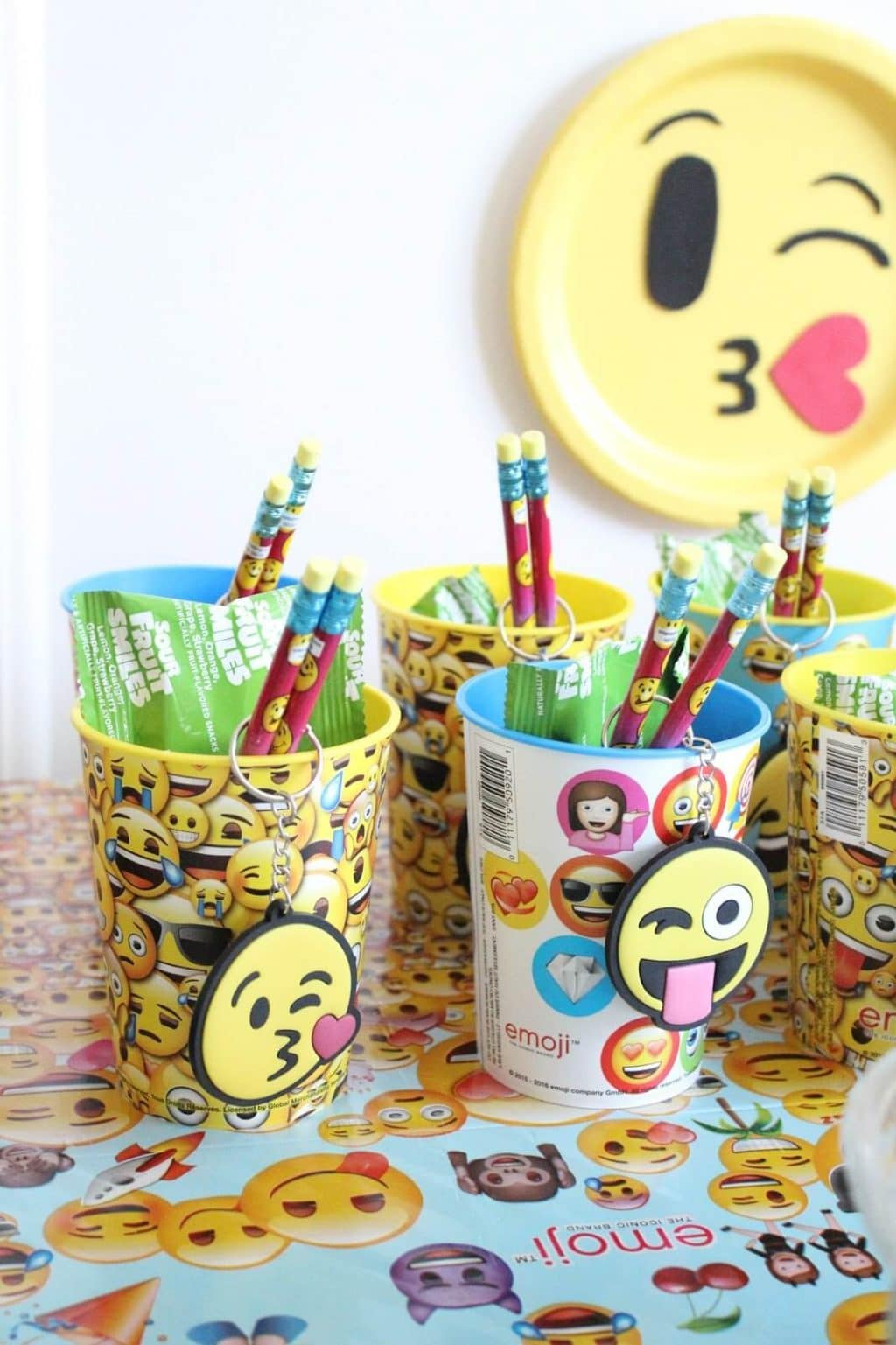 Goody bag cups, emoji birthday party