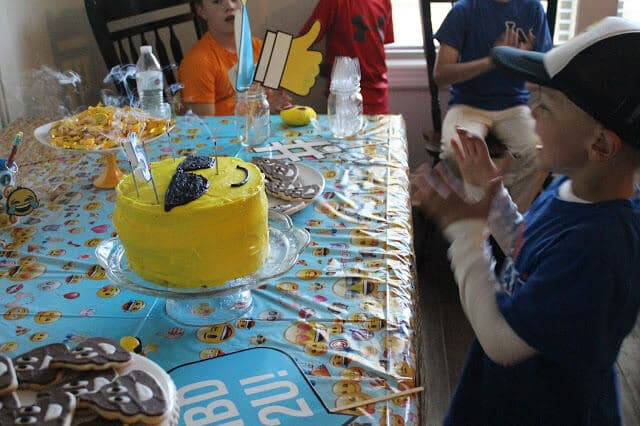 Emoji party birthday cake, 5 year old birthday, Stilettos and Diapers