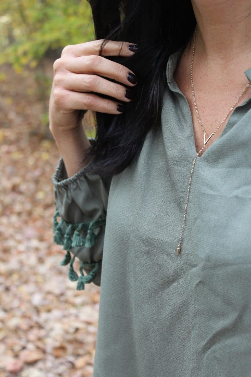 Tassel Blouse, lariat necklace Nordstrom