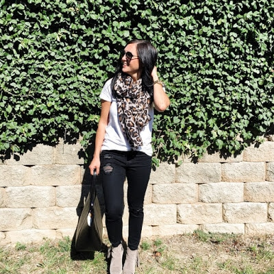 Black Skinnies, Leopard Scarf, Perfect White Tee