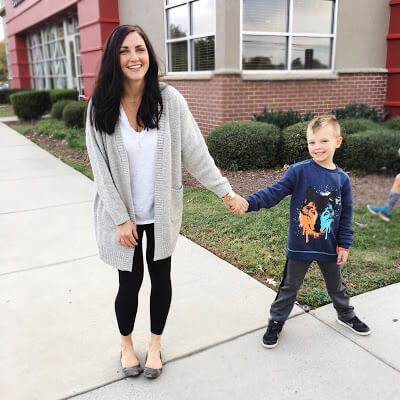 Mother and Son, Cozy open front grey sweater cardigan