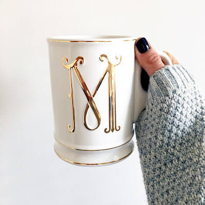 Mudpie Monogram Mug, Gel Mani Black Cherry