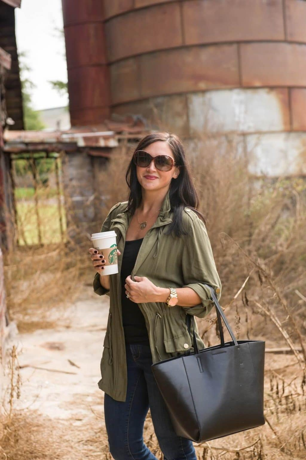 Casual Style, Military Jacket, Leather Tote