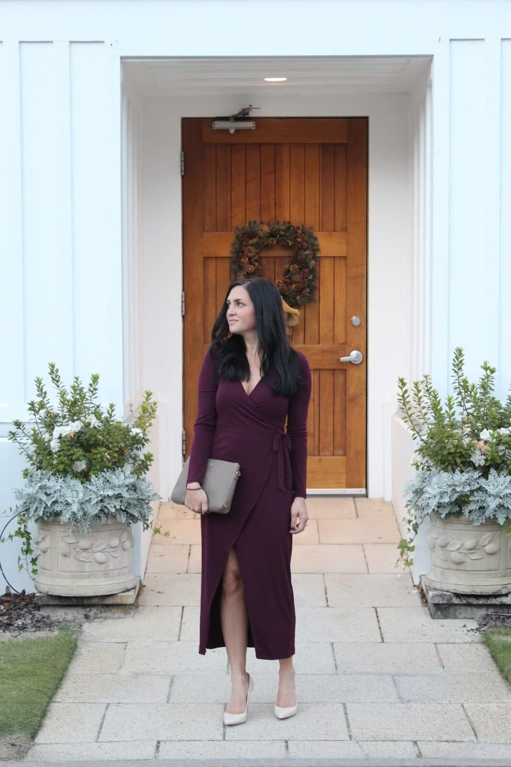 Nude Heels, Burgundy Dress, Christmas Party Outfit