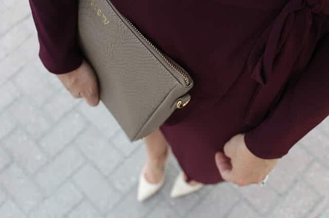 Nude Heels, Burgundy Dress, GiGi New York