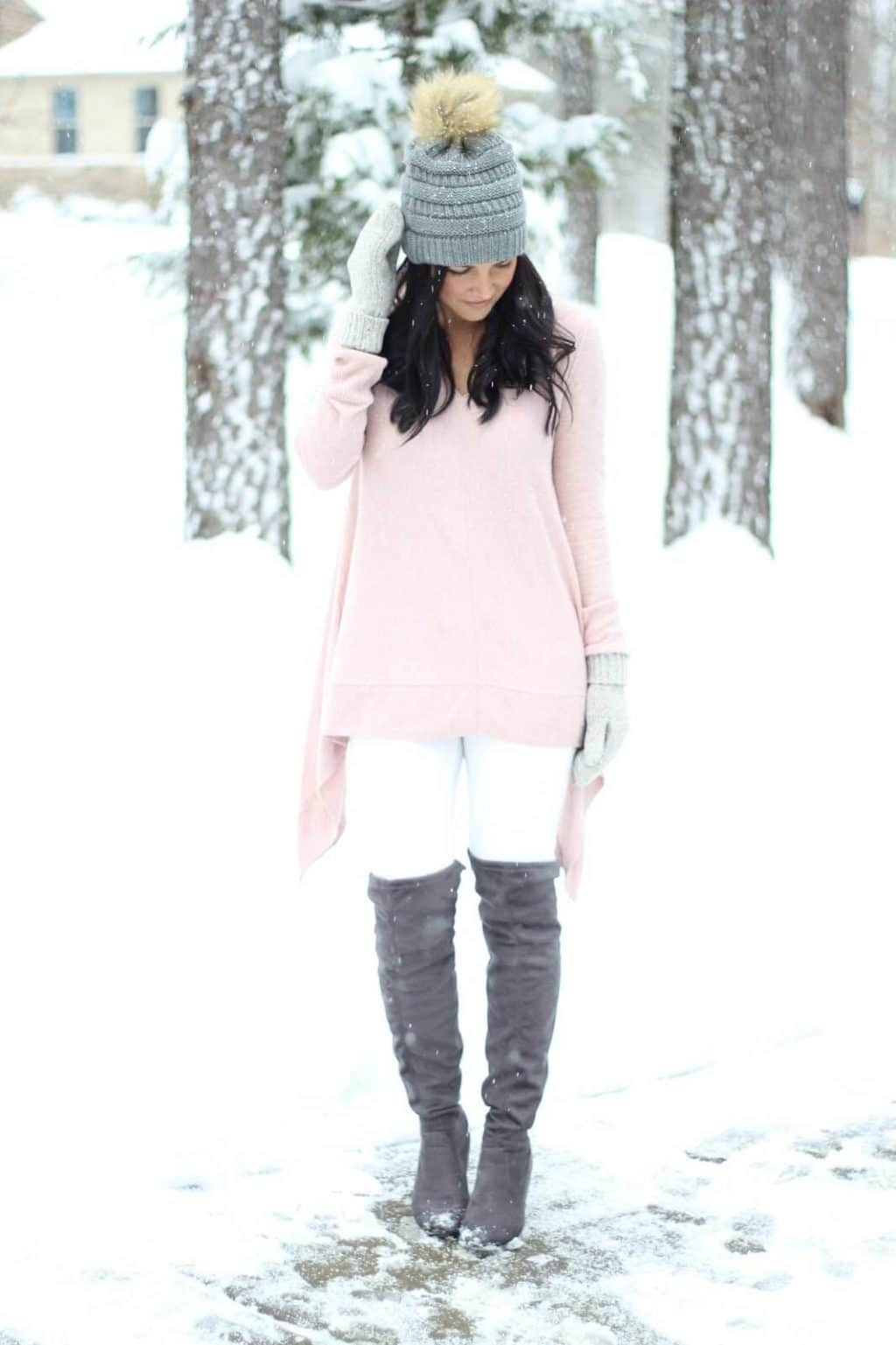 How to wear over the knee boots with white jeans