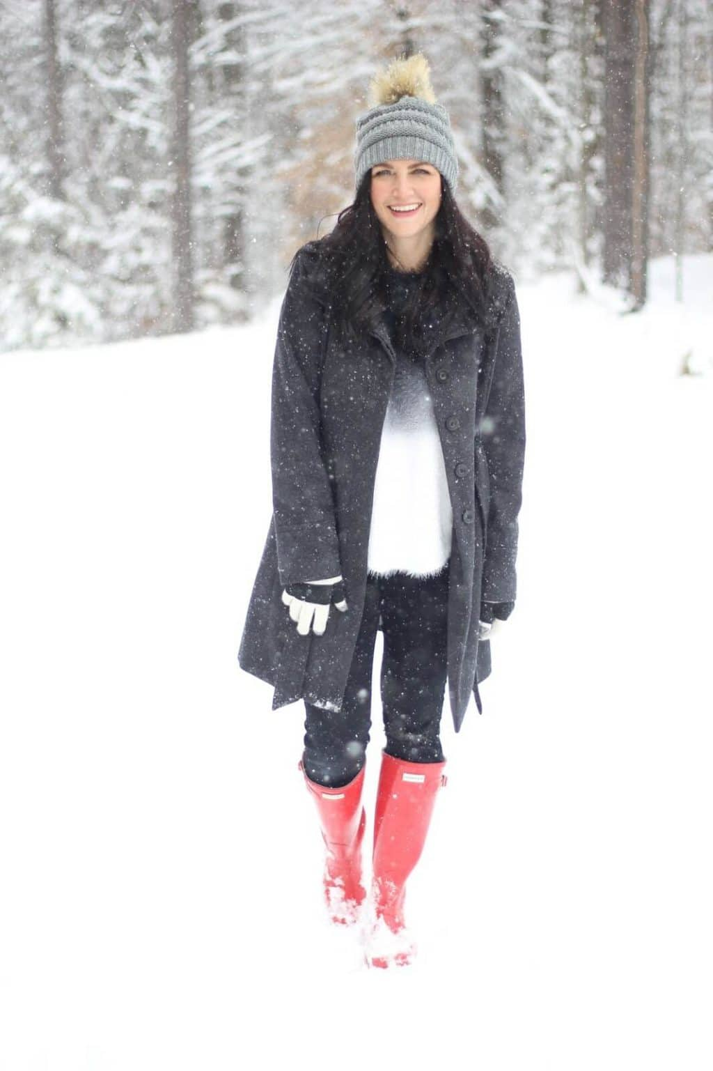 A look for snow with Red Hunter Boots, a Pom Beanie and cozy layers.