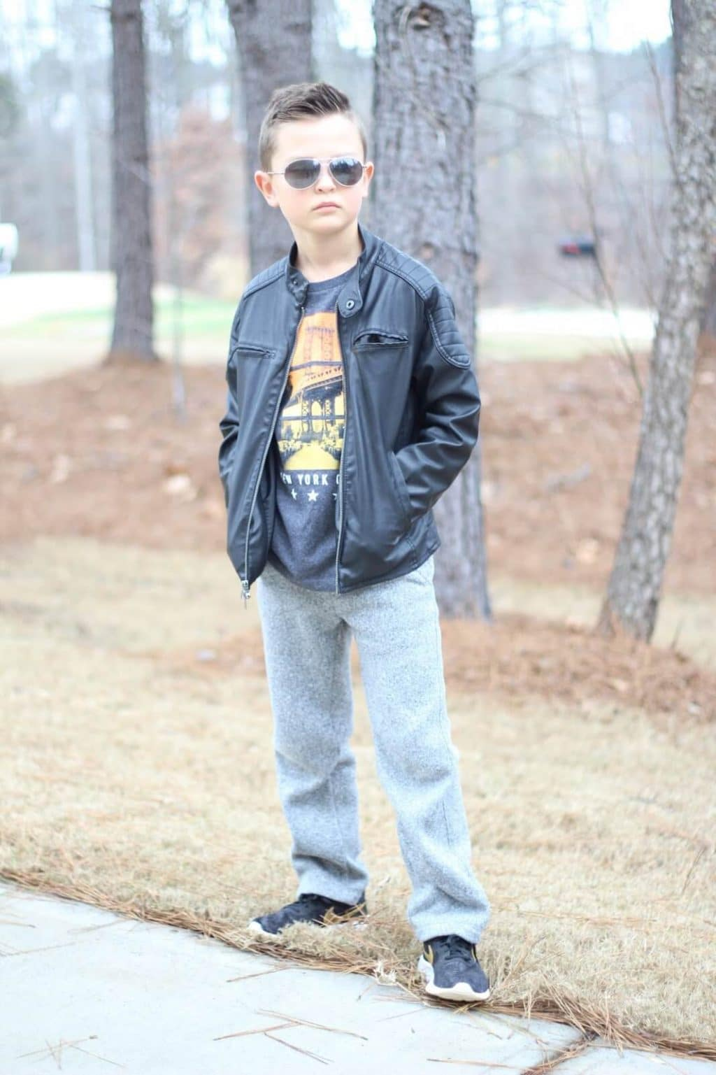 Cool kid style, leather jacket, aviator sunglasses, Cooper Stilettos and Diapers