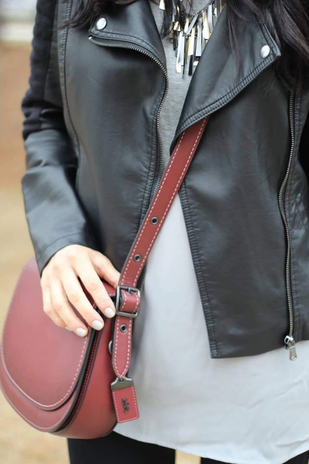Leather Jacket, Distressed Denim, Coach Saddle Bag