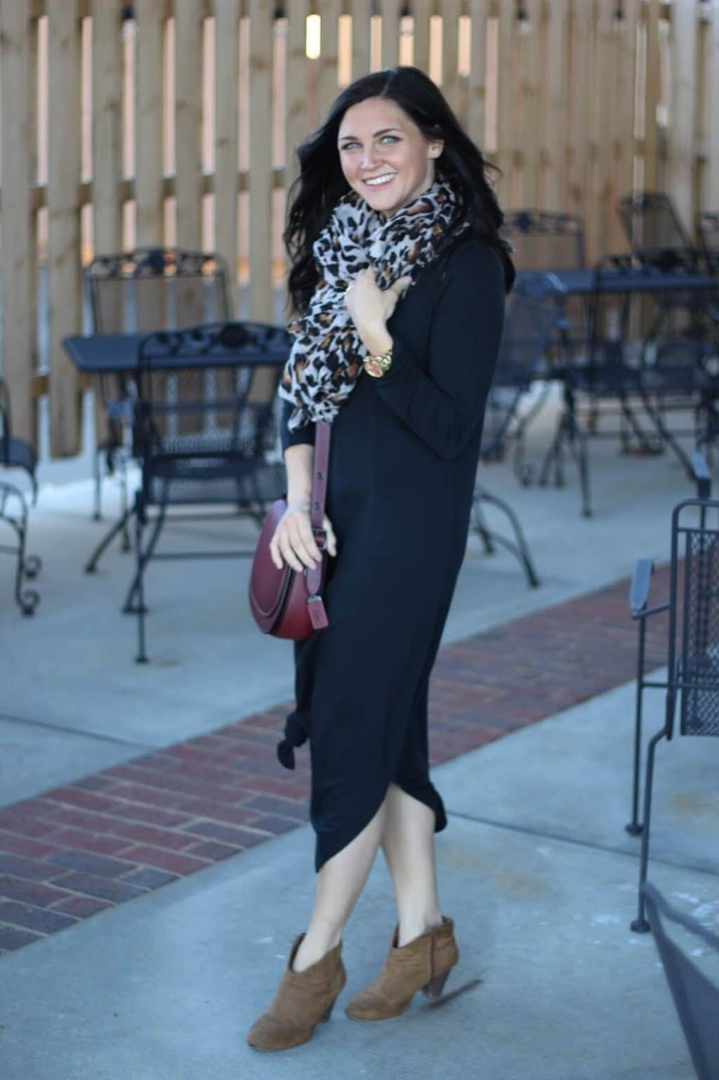 How to style a basic black maxi dress via Stilettos and Diapers