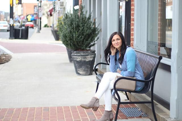 Spring Transition Outfit idea, Downtown Mooresville, NC