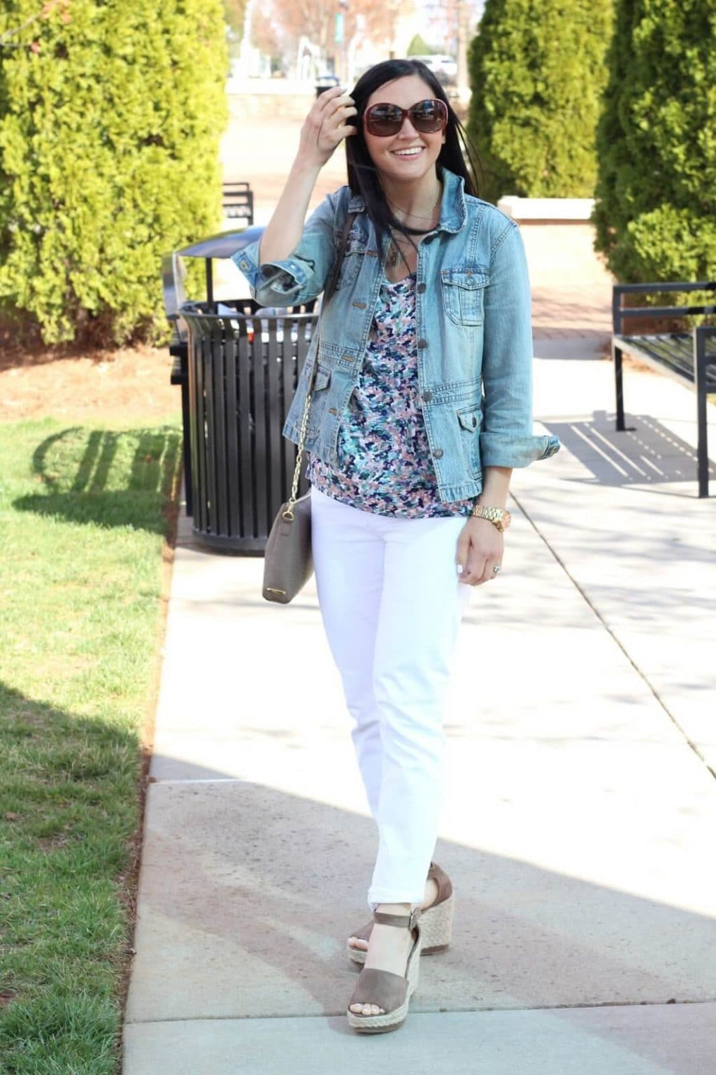 Floral Cold Shoulder, White Skinnies and Denim for Spring