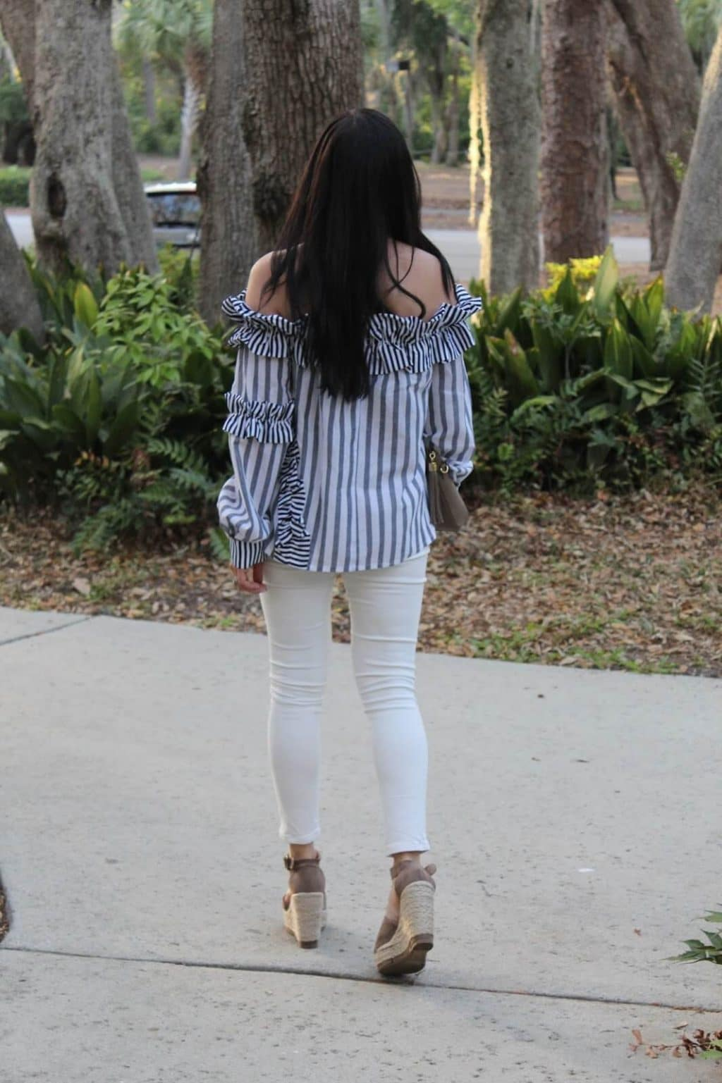 Stilettos and Diapers, Stripes, ruffles off the shoulder, best white skinnies, espadrille wedges