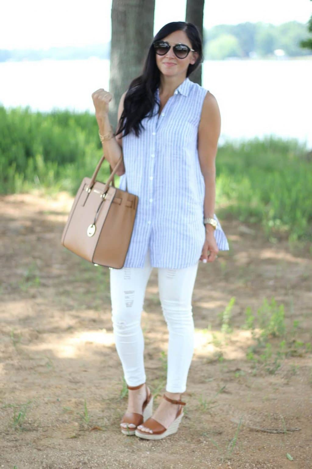 White and stripe linen, Michael Kors, Stilettos and Diapers, Concord Mills Bag Sale