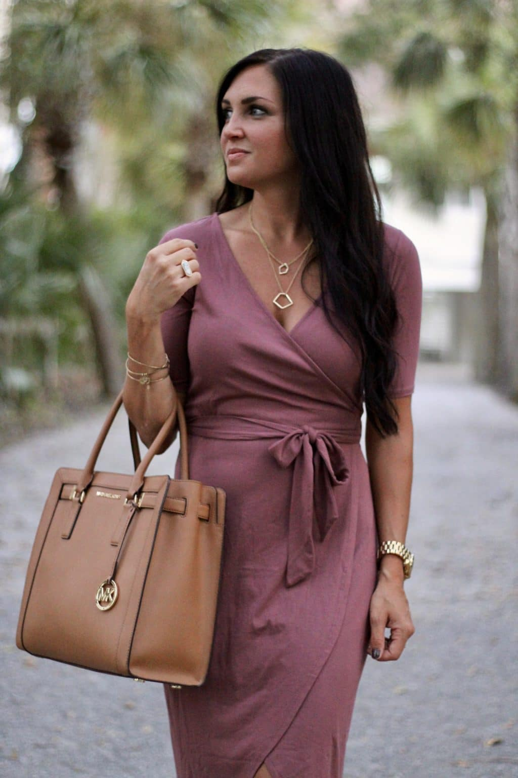 T&J Designs, Date Night Style, Wrap Dress, Rose