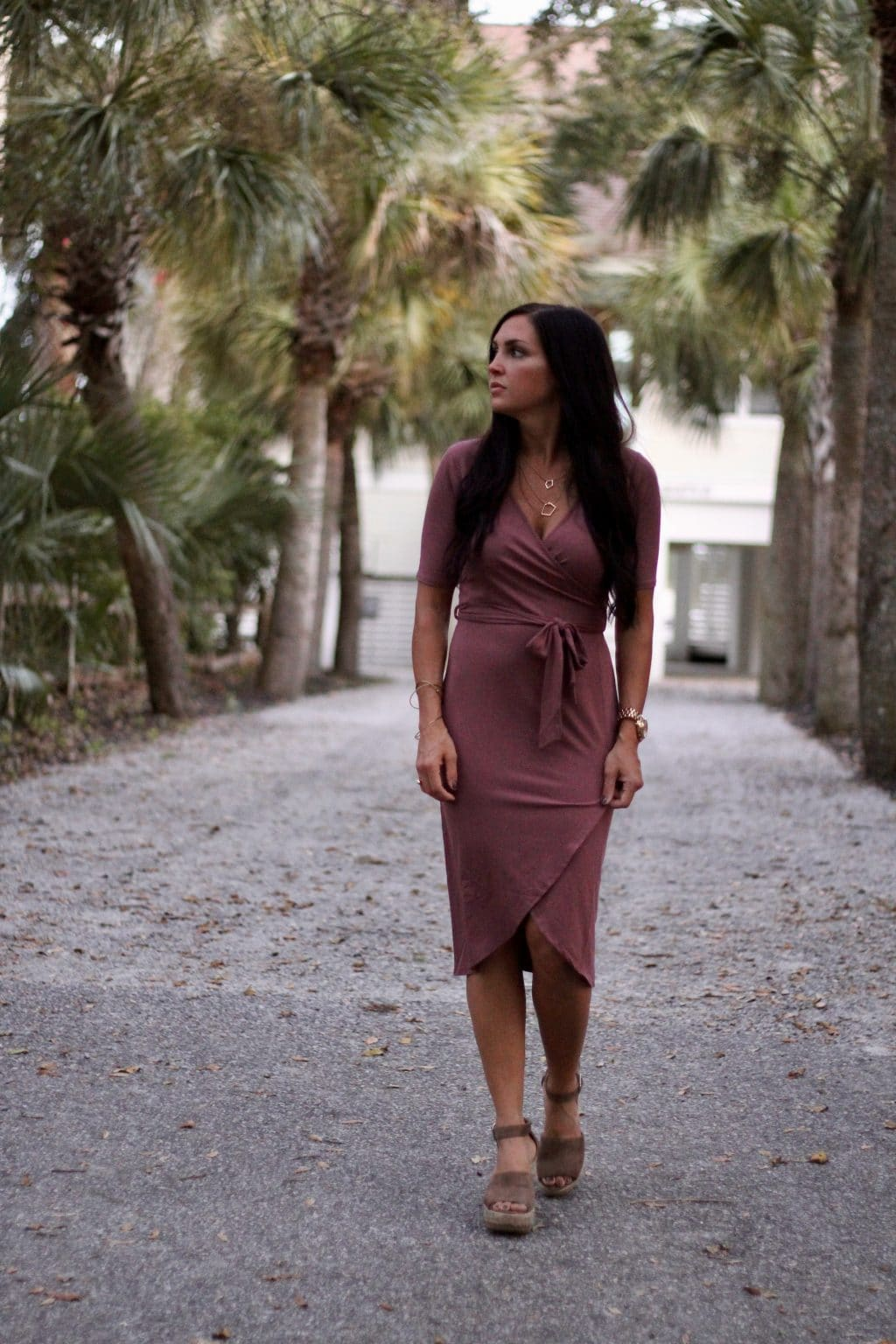 Date Night Style, Wrap Dress, Rose