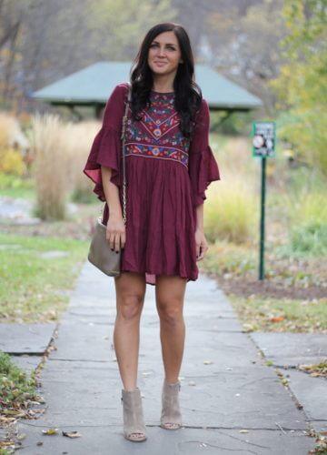 Burgundy Embroidered Dress