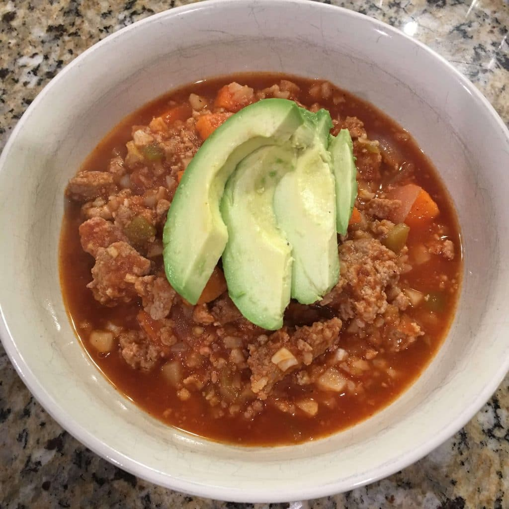 Whole30 sweet potato chili, simple winter meal, paleo family dinner