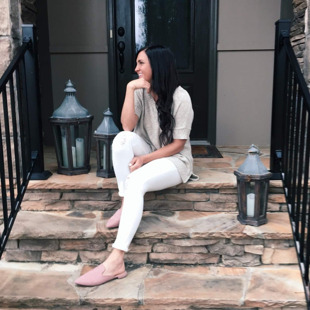 Blush pink slides, the look for less, white denim, pottery barn lanterns