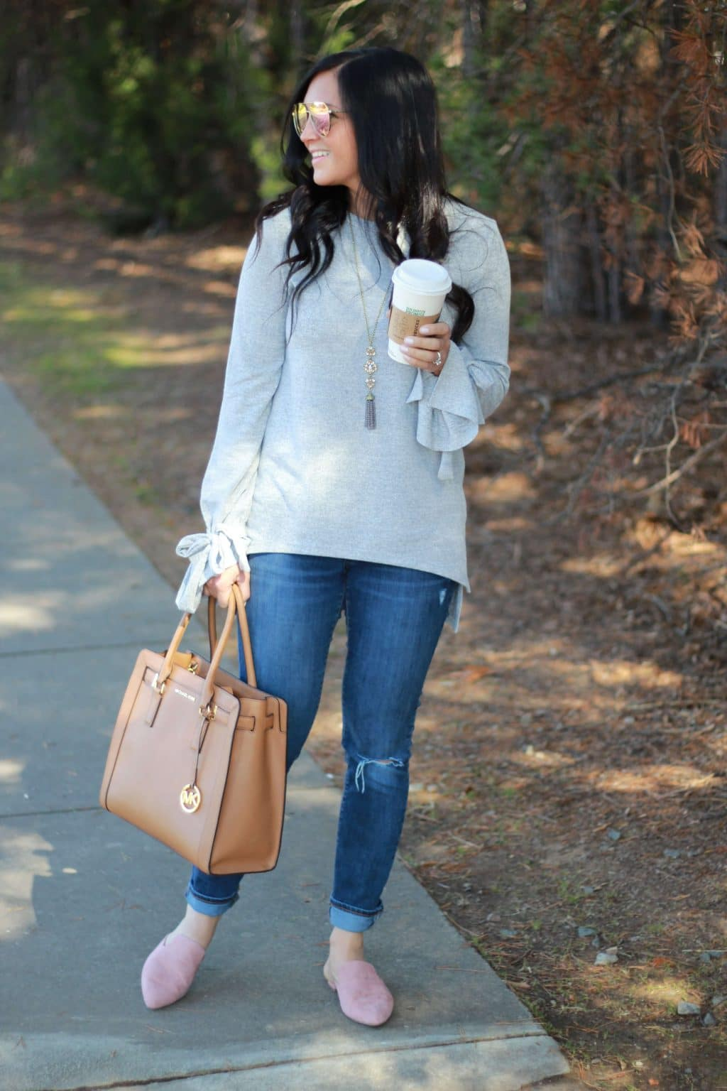 Bow Sleeve Sweater, Pink Diff Dash