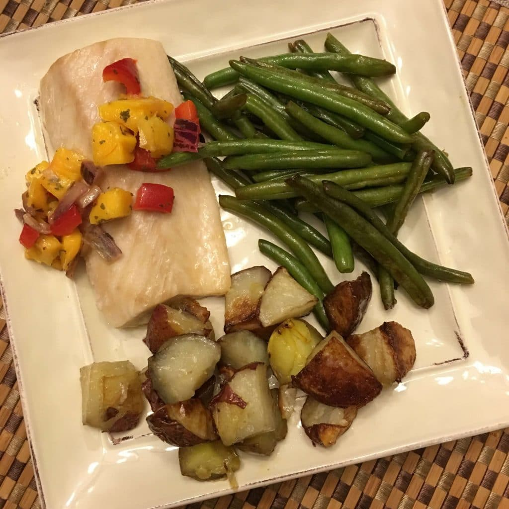 whole30 mahi-mahi, pineapple salsa