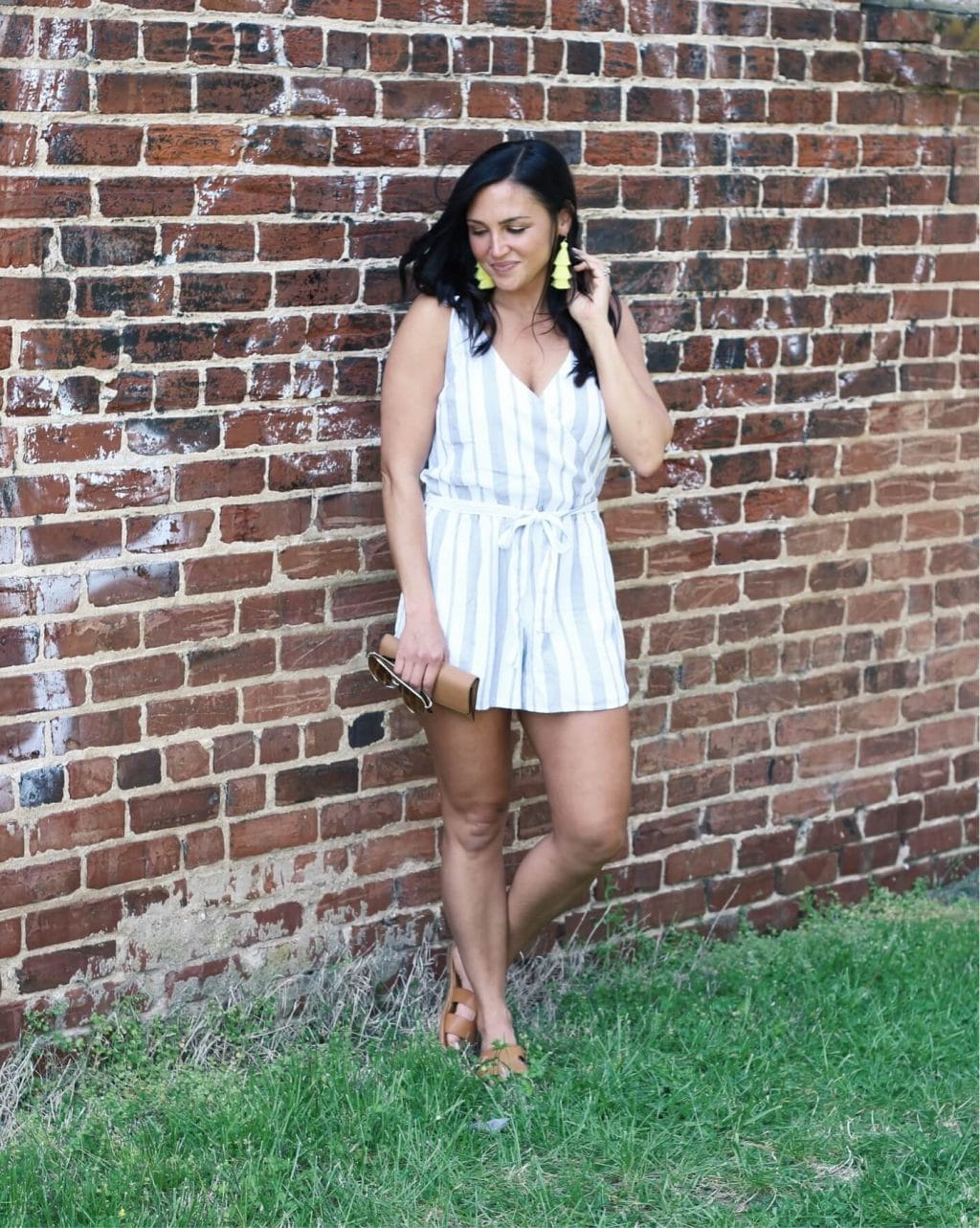Summer striped romper, blue and white romper, Molly Wey, Stilettos and Diapers
