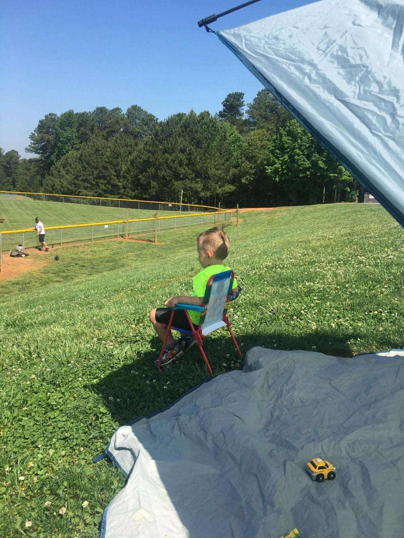 Toddler at the ballfield