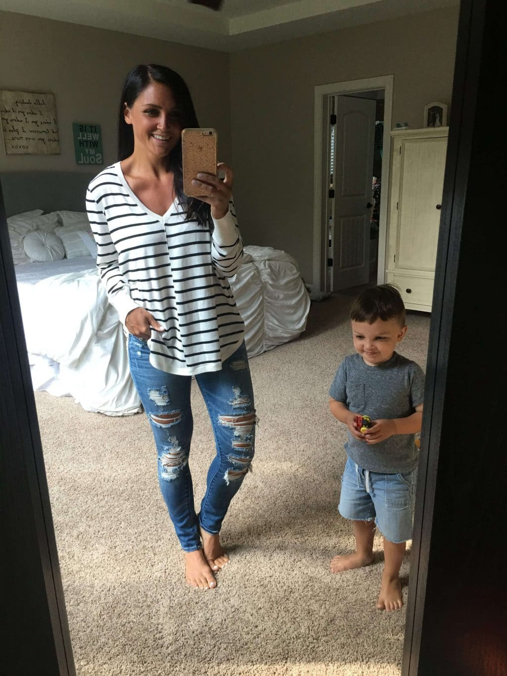 Oversized Striped Sweater, Nordstrom Anniversary Sale, Stilettos and Diapers