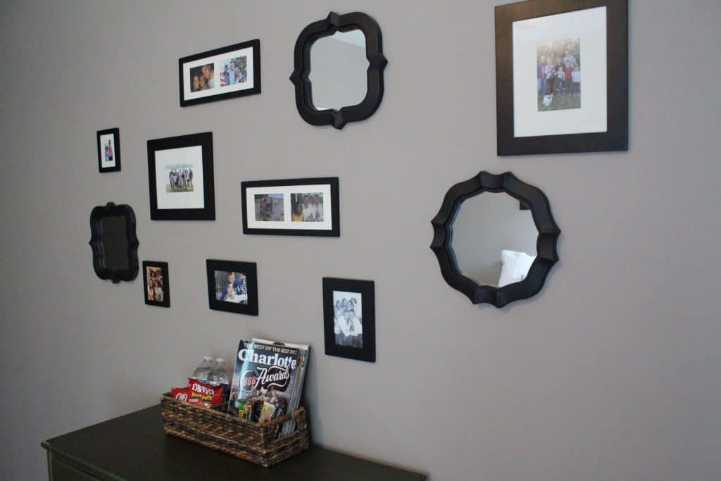 Interchangeable gallery wall, Stilettos and Diapers, Guest Room tips