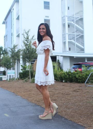 30A, Vacation restaurants, Date Night, Stilettos and Diapers, Molly Wey, White strapless dress