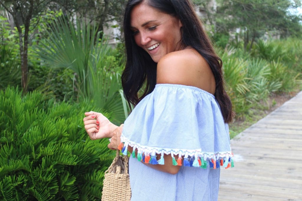 Off The Shoulder Dress, Tassels, Molly Wey, Stilettos and Diapers, 30A Vacation,