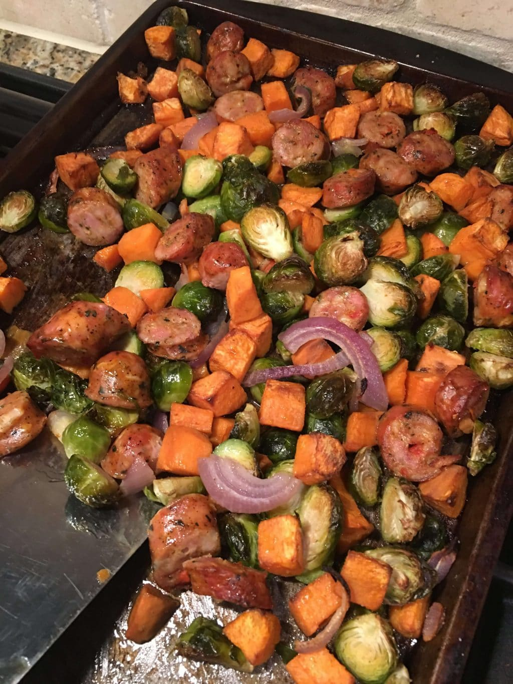 Sheetpan Sausage Bake, Whole30, Paleo, Stilettos and Diapers, Family Meal Plan