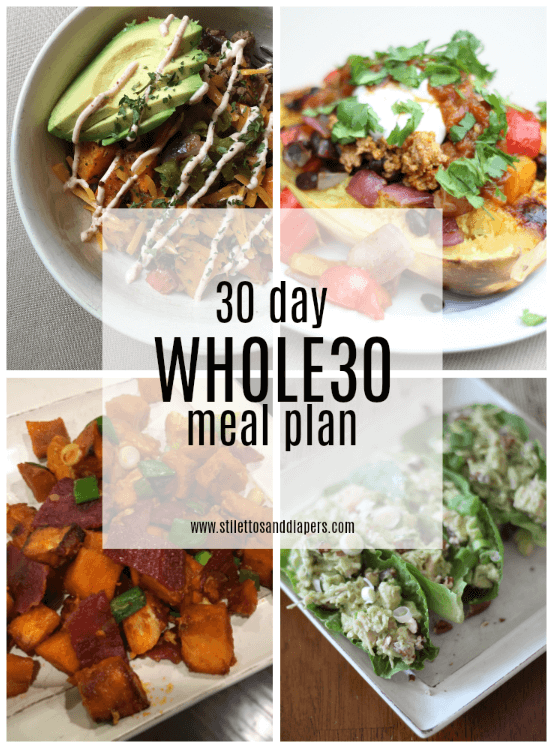Whole30 Meal Plan to make your January easier! Tried and true, family friendly recipes via Stilettos and Diapers