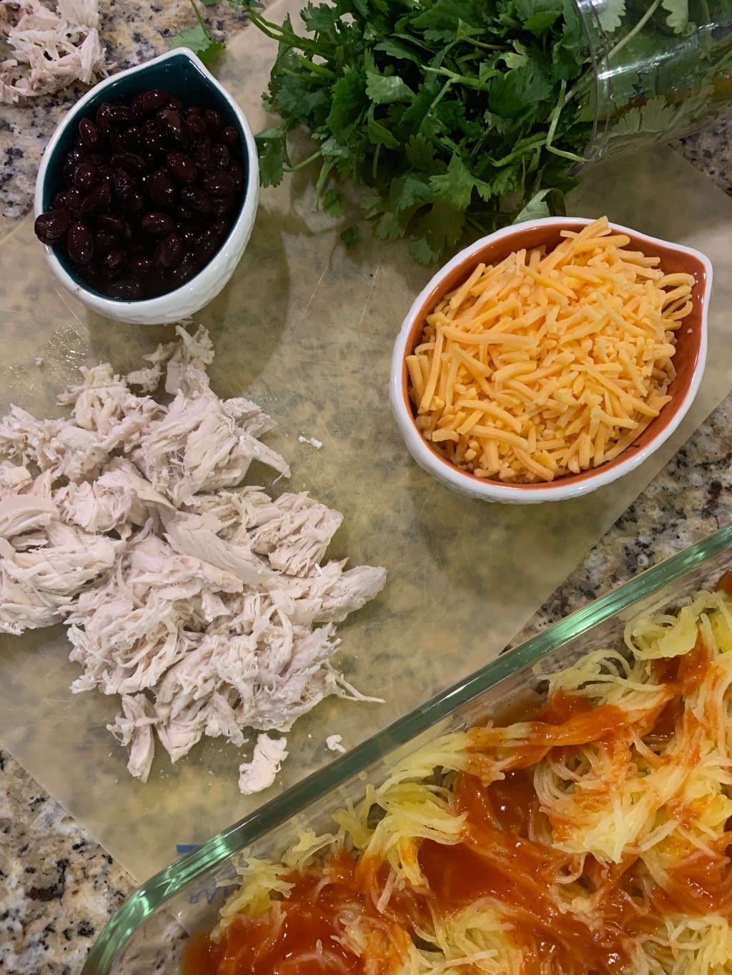 Chicken Enchilada Spaghetti Squash Casserole, Low Carb, Stilettos and Diapers
