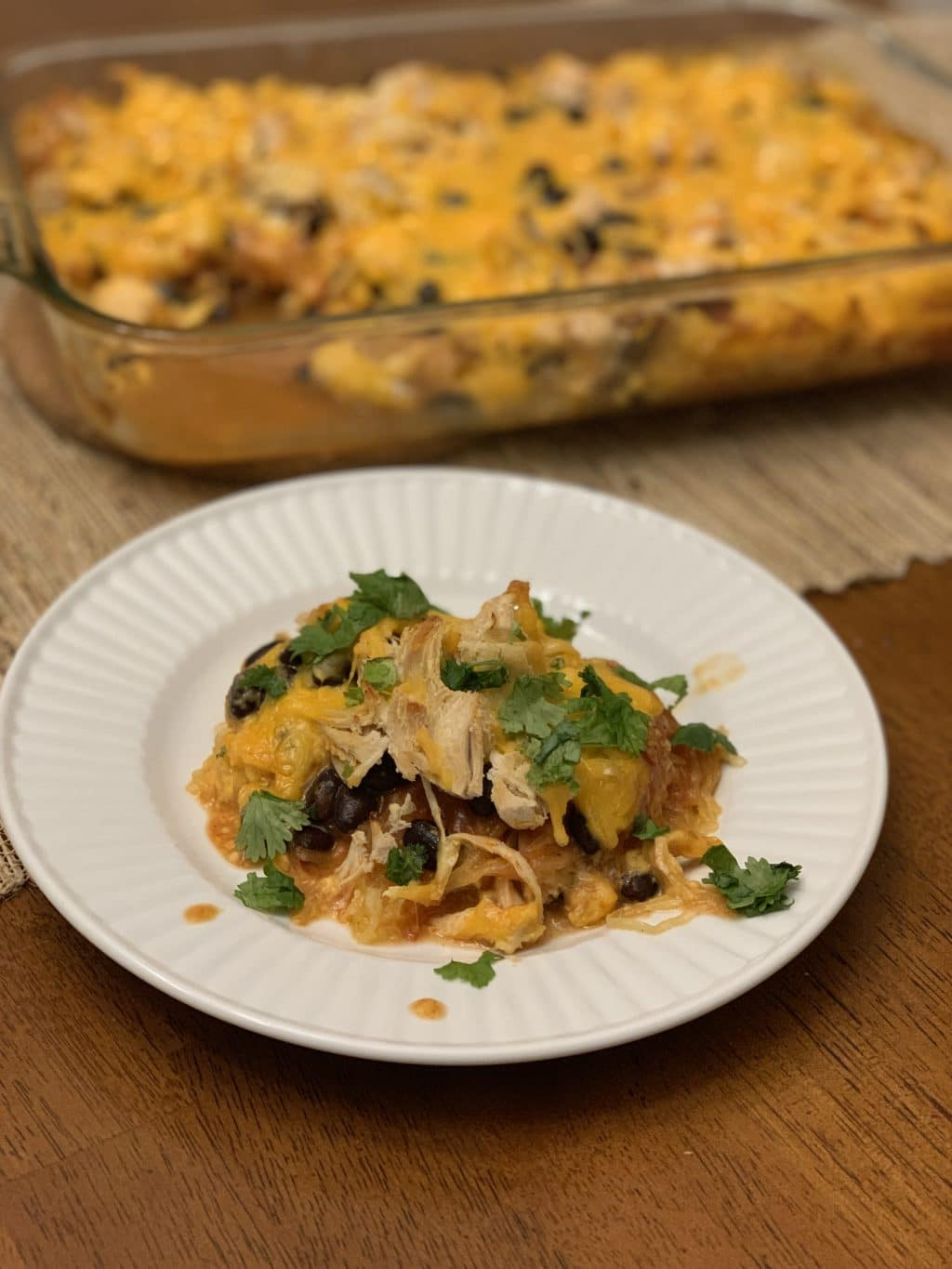 Chicken Enchilada Spaghetti Squash Casserole, Low Carb, Family Friendly, Quick Weeknight Dinner, Stilettos and Diapers