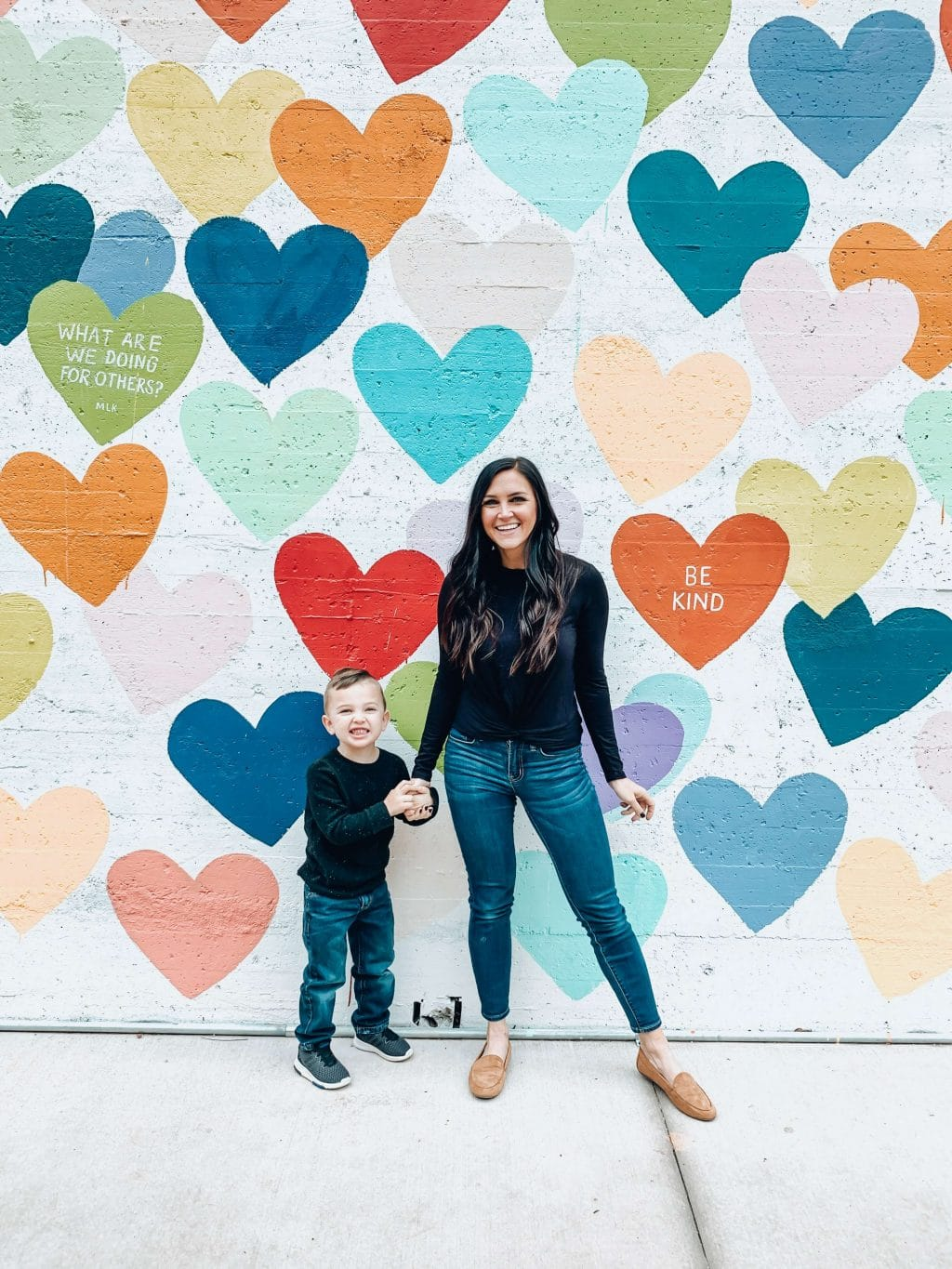 Charlotte Heart Wall, Mother and Son Style, Spring Transition, Stilettos and Diapers, Molly Wey